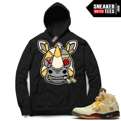OFF White Jordan 5 Sail Sneaker Hoodies Black Misunderstood Rhino