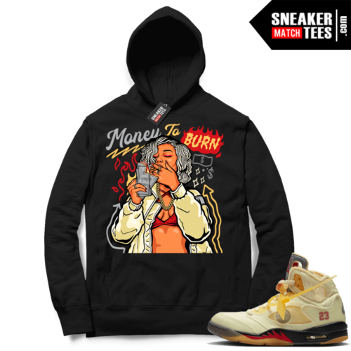 OFF White Jordan 5 Sail Sneaker Hoodies Black Money to Burn