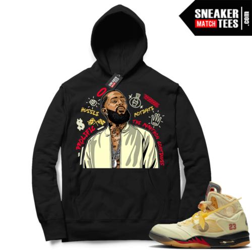 OFF White Jordan 5 Sail Sneaker Hoodies Black Nipsey Tribute