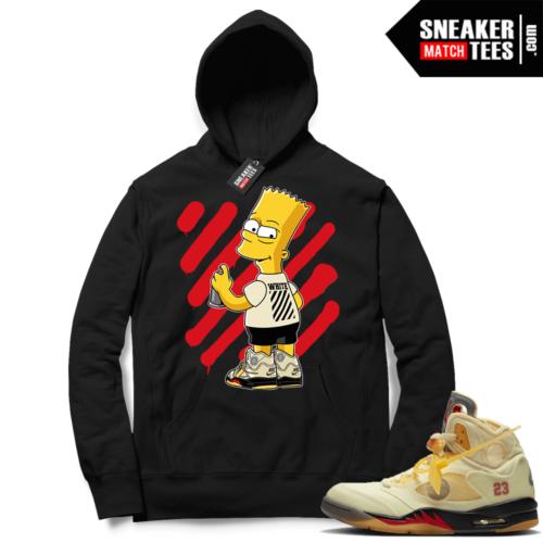 OFF White Jordan 5 Sail Sneaker Hoodies Black OFF-Bart