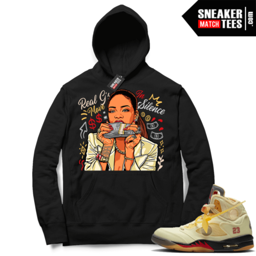 OFF White Jordan 5 Sail Sneaker Hoodies Black Real Gs Move In Silence