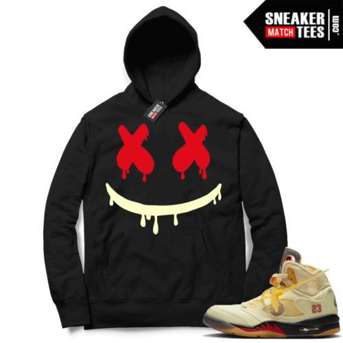 OFF White Jordan 5 Sail Sneaker Hoodies Black Smiley Drip
