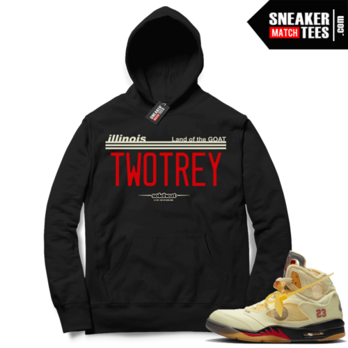 OFF White Jordan 5 Sail Sneaker Hoodies Black TWO TREY