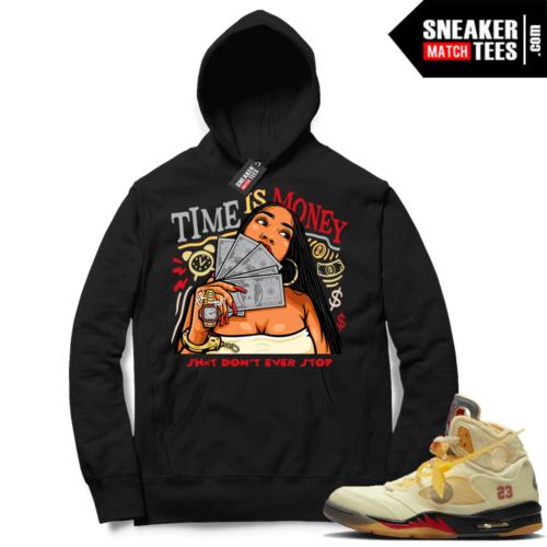 OFF White Jordan 5 Sail Sneaker Hoodies Black Time Is Money