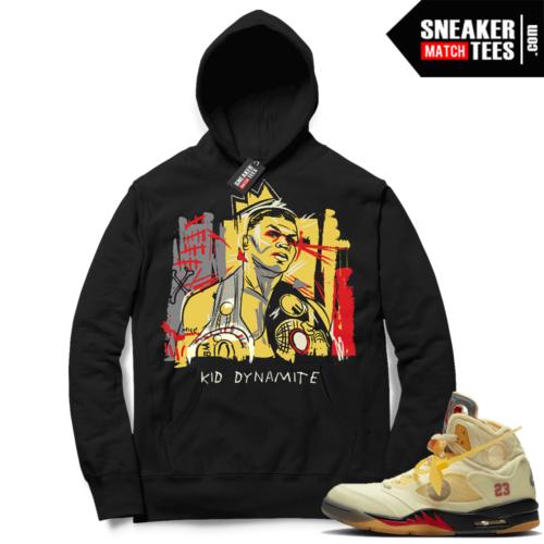 OFF White Jordan 5 Sail Sneaker Hoodies Black Tyson Basquiat