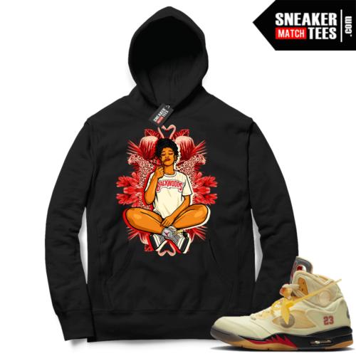 OFF White Jordan 5 Sail Sneaker Hoodies Black Vibes