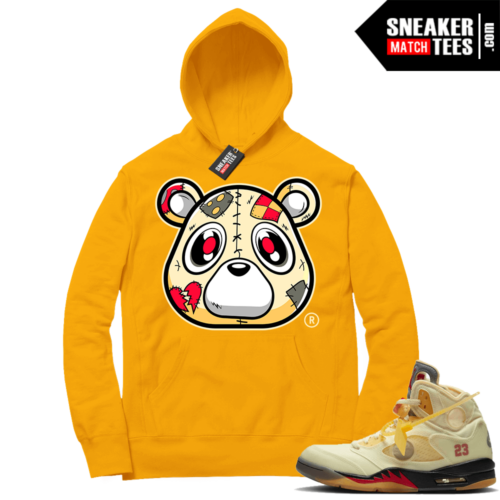 OFF White Jordan 5 Sail Sneaker Hoodies Gold Heartless Bear