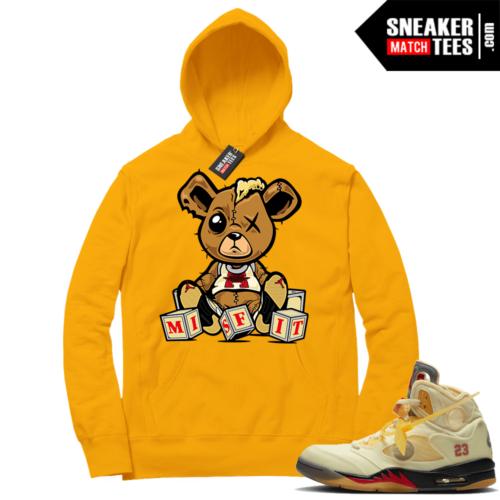 OFF White Jordan 5 Sail Sneaker Hoodies Gold Misfit Teddy