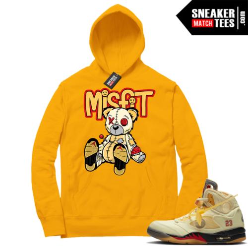 OFF White Jordan 5 Sail Sneaker Hoodies Gold Misfit Voodoo Sneaker Bear