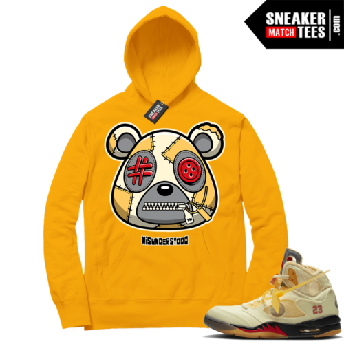 OFF White Jordan 5 Sail Sneaker Hoodies Gold Misunderstood Bear