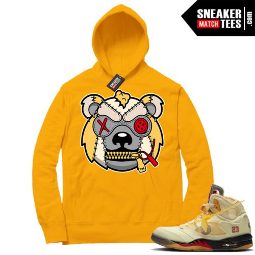 OFF White Jordan 5 Sail Sneaker Hoodies Gold Misunderstood Grizzly