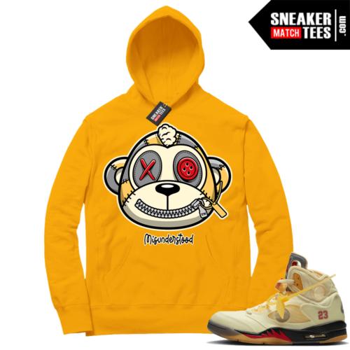 OFF White Jordan 5 Sail Sneaker Hoodies Gold Misunderstood Monkey