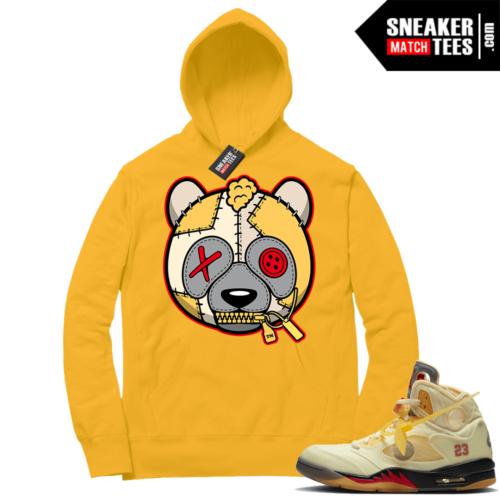 OFF White Jordan 5 Sail Sneaker Hoodies Gold Misunderstood Panda