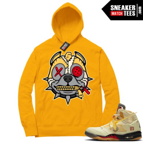 OFF White Jordan 5 Sail Sneaker Hoodies Gold Misunderstood Pitbull