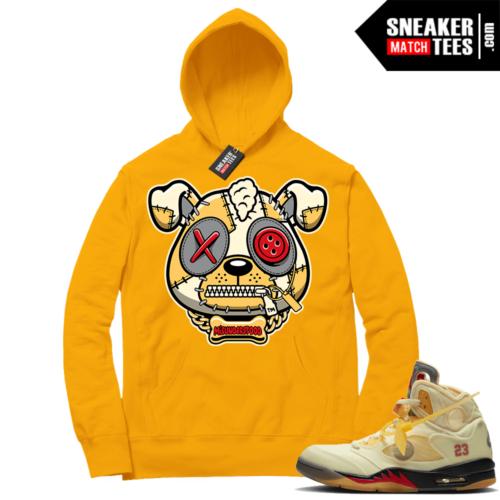 OFF White Jordan 5 Sail Sneaker Hoodies Gold Misunderstood Puppy