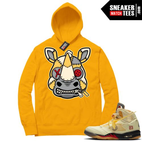 OFF White Jordan 5 Sail Sneaker Hoodies Gold Misunderstood Rhino