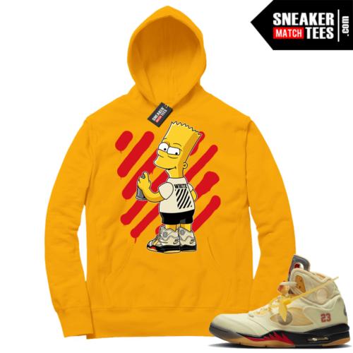 OFF White Jordan 5 Sail Sneaker Hoodies Gold OFF-Bart