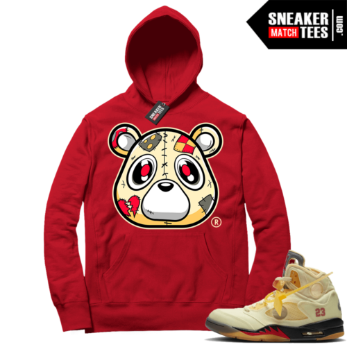 OFF White Jordan 5 Sail Sneaker Hoodies Red Heartless Bear