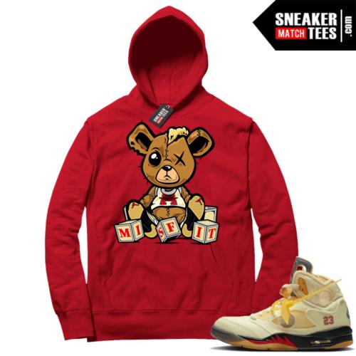 OFF White Jordan 5 Sail Sneaker Hoodies Red Misfit Teddy