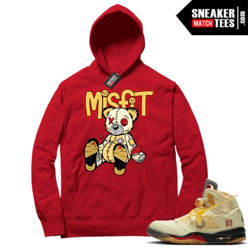OFF White Jordan 5 Sail Sneaker Hoodies Red Misfit Voodoo Sneaker Bear