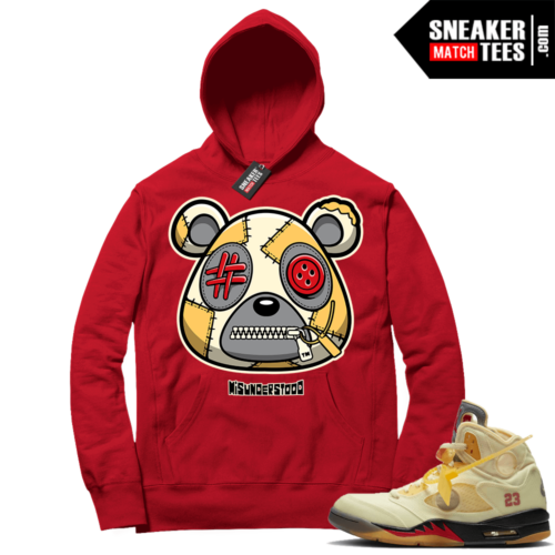 OFF White Jordan 5 Sail Sneaker Hoodies Red Misunderstood Bear
