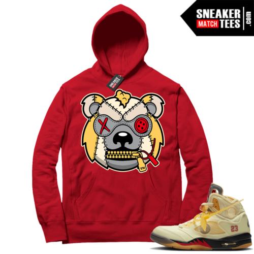 OFF White Jordan 5 Sail Sneaker Hoodies Red Misunderstood Grizzly