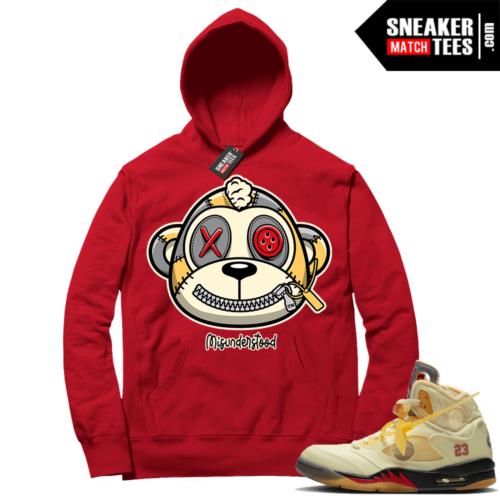 OFF White Jordan 5 Sail Sneaker Hoodies Red Misunderstood Monkey