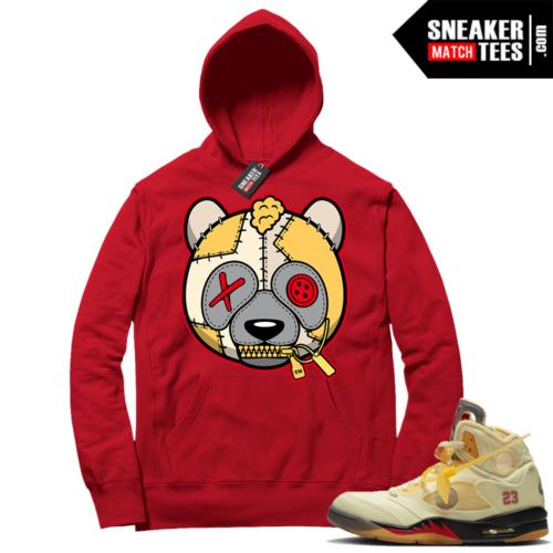OFF White Jordan 5 Sail Sneaker Hoodies Red Misunderstood Panda