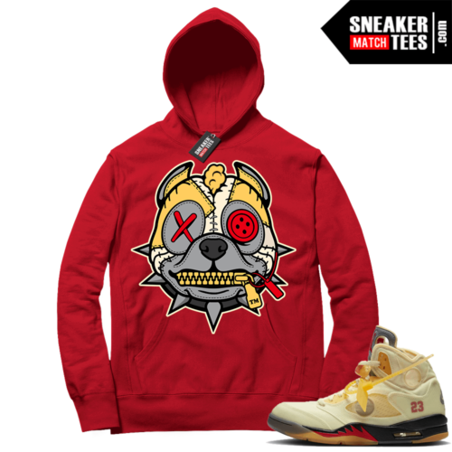 OFF White Jordan 5 Sail Sneaker Hoodies Red Misunderstood Pitbull