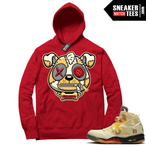 OFF White Jordan 5 Sail Sneaker Hoodies Red Misunderstood Puppy
