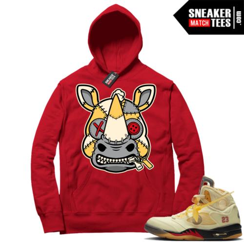 OFF White Jordan 5 Sail Sneaker Hoodies Red Misunderstood Rhino