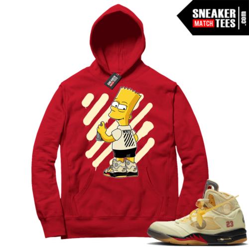 OFF White Jordan 5 Sail Sneaker Hoodies Red OFF-Bart