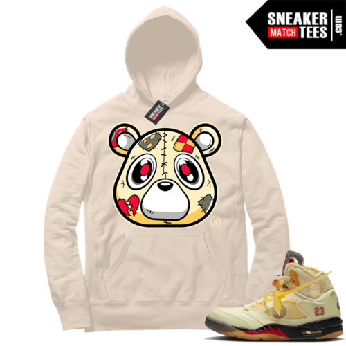 OFF White Jordan 5 Sail Sneaker Hoodies Sail Heartless Bear