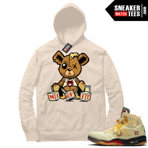 OFF White Jordan 5 Sail Sneaker Hoodies Sail Misfit Teddy