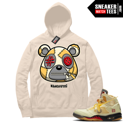 OFF White Jordan 5 Sail Sneaker Hoodies Sail Misunderstood Bear