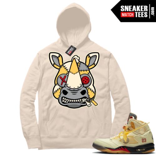 OFF White Jordan 5 Sail Sneaker Hoodies Sail Misunderstood Rhino