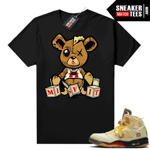 OFF White Jordan 5 Sail Sneaker Tees Shirts Black Misfit Teddy
