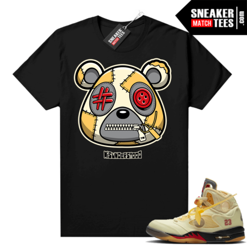 OFF White Jordan 5 Sail Sneaker Tees Shirts Black Misunderstood Bear