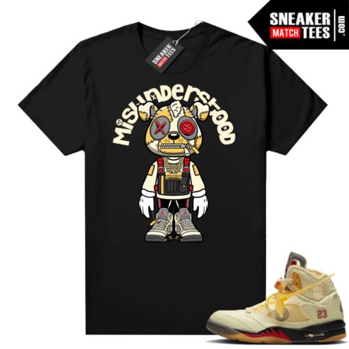 OFF White Jordan 5 Sail Sneaker Tees Shirts Black Misunderstood Puppy Toon