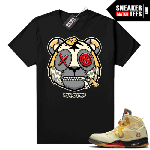 OFF White Jordan 5 Sail Sneaker Tees Shirts Black Misunderstood Tiger