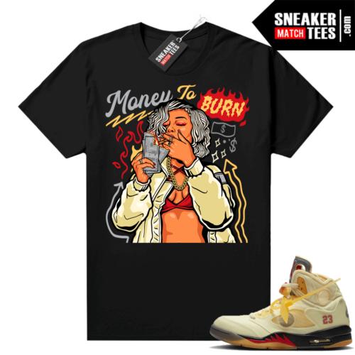 OFF White Jordan 5 Sail Sneaker Tees Shirts Black Money To Burn