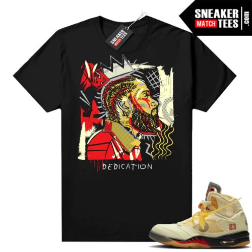 OFF White Jordan 5 Sail Sneaker Tees Shirts Black Nipsey Basquiat