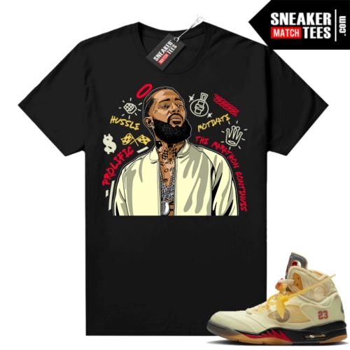 OFF White Jordan 5 Sail Sneaker Tees Shirts Black Nipsey Tribute