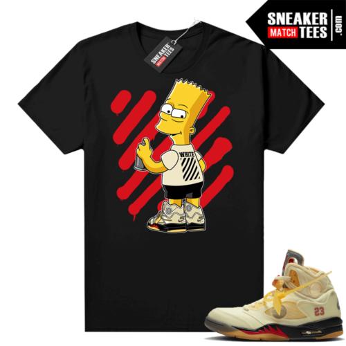 OFF White Jordan 5 Sail Sneaker Tees Shirts Black OFF-Bart