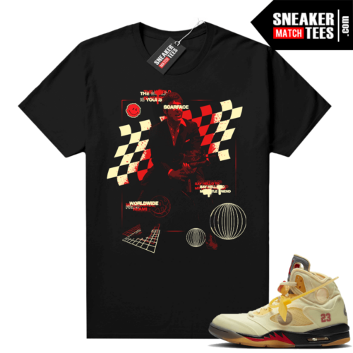 OFF White Jordan 5 Sail Sneaker Tees Shirts Black Scarface