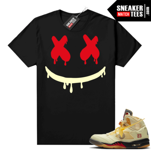 OFF White Jordan 5 Sail Sneaker Tees Shirts Black Smiley Drip