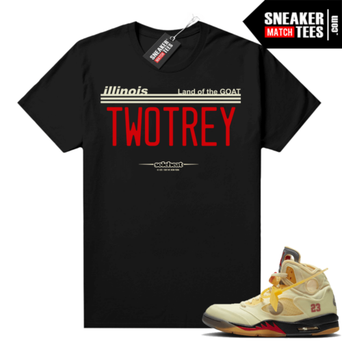 OFF White Jordan 5 Sail Sneaker Tees Shirts Black TWO TREY