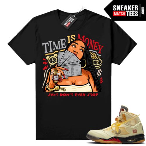 OFF White Jordan 5 Sail Sneaker Tees Shirts Black Time Is Money