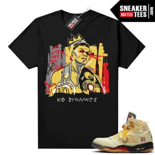 OFF White Jordan 5 Sail Sneaker Tees Shirts Black Tyson Basquiat