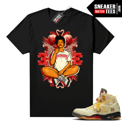 OFF White Jordan 5 Sail Sneaker Tees Shirts Black Vibes